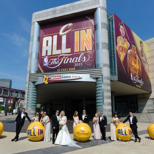 Wedding party standing outside the Q
